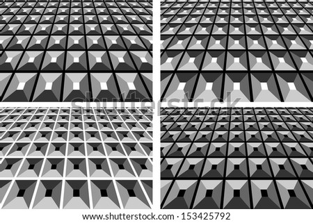 Abstract geometric backgrounds set. Vector art. - stock vector