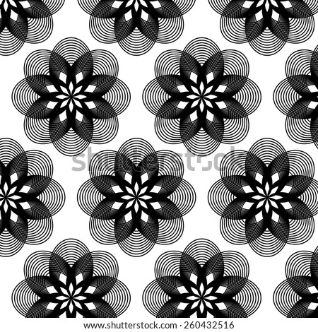 Abstract geometric big monochrome flower pattern background - stock vector