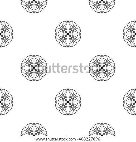 Abstract geometric black and white seamless pattern. Sacred Geometry background. Monochrome line art geometric elements. Elegant modern print design. - stock vector