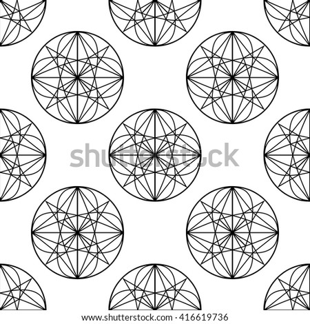 Abstract geometric black and white seamless pattern. Sacred Geometry background. Monochrome line art geometric sphere elements. Elegant modern print design - stock vector