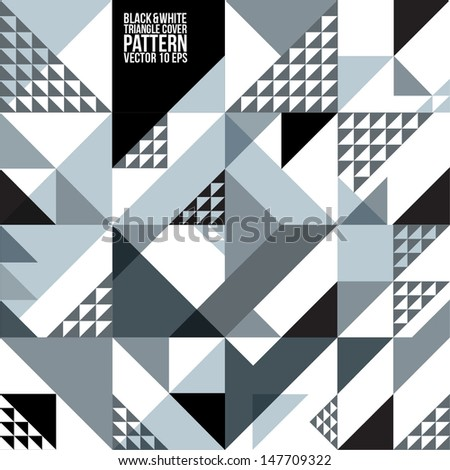 Abstract Geometric Black & White Triangle Pattern.  Background , Cover , Layout , Magazine, Brochure , Poster , Website , etc. - stock vector