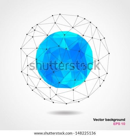 Abstract geometric blue spherical shape from triangular faces for graphic design.Vector illustration EPS10. - stock vector