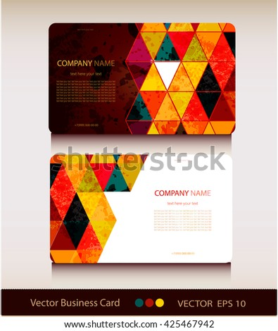 Abstract geometric business card Set.Vector illustration