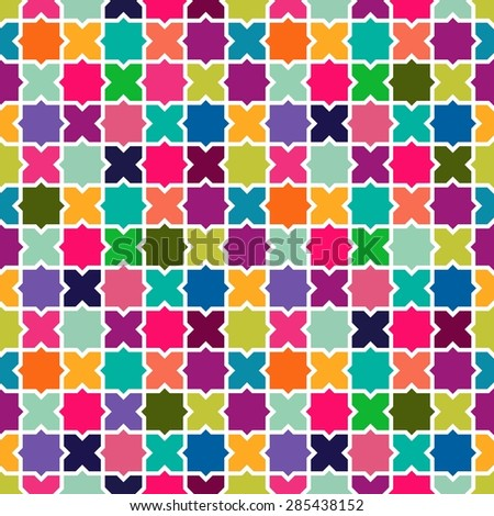 Abstract geometric colorful mosaic seamless pattern background. Ideal for fabric, wrapping paper print and website backdrop design. EPS10 vector file. - stock vector