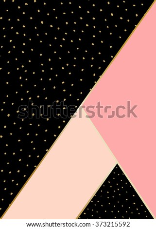 Abstract geometric composition in black, pink and gold. Hand drawn vintage texture, lines, dots pattern and geometric elements. Modern and stylish abstract design poster, cover, card design. - stock vector