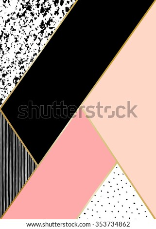 Abstract geometric composition in black, white, gold and pastel pink. Hand drawn vintage texture, lines, dots pattern and geometric elements. Modern abstract design poster, cover, card design. - stock vector