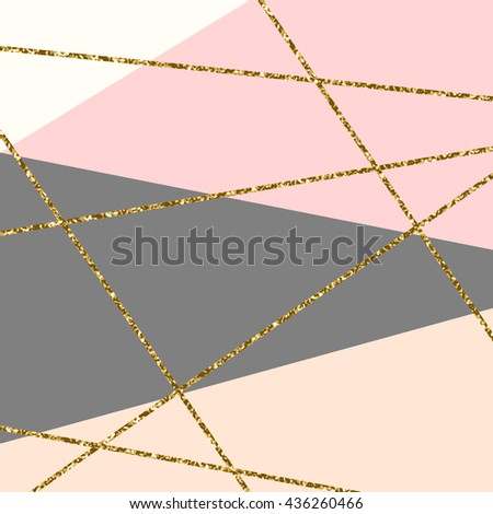 Abstract geometric composition in gray, white, gold glitter and pastel pink. Modern and stylish abstract design poster, cover, card design. - stock vector