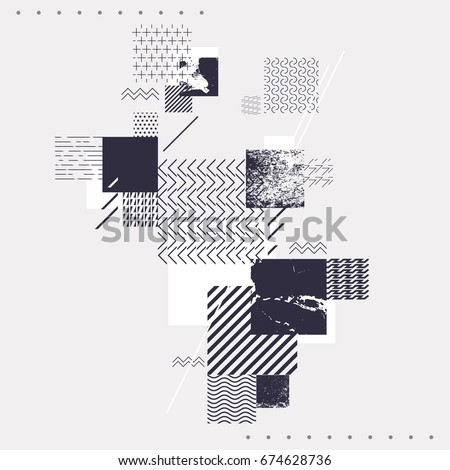 Abstract geometric composition with decorative squares