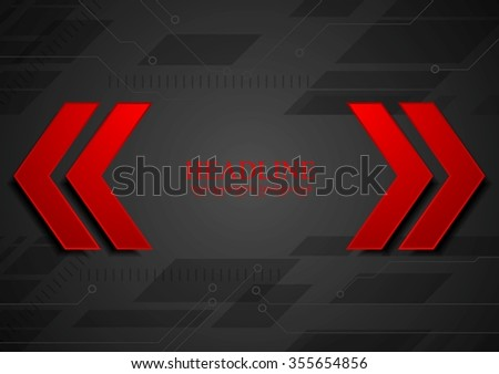 Abstract geometric corporate background with red arrows. Vector design - stock vector