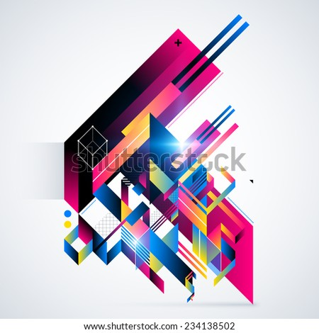 Abstract geometric element with colorful gradients and glowing lights. Corporate futuristic design, useful for presentations, advertising and web layouts. EPS10 vector illustration.