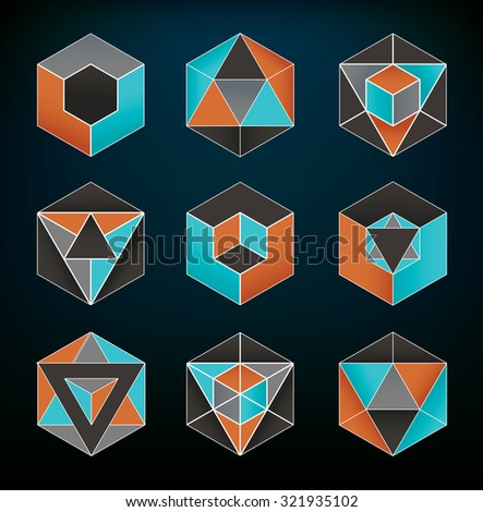 Abstract geometric elements set usable for icons and spiritual themes - stock vector