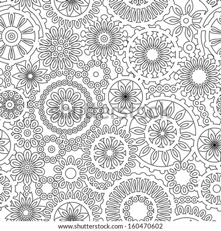 Abstract geometric filigree doilies seamless pattern in black and white, vector - stock vector