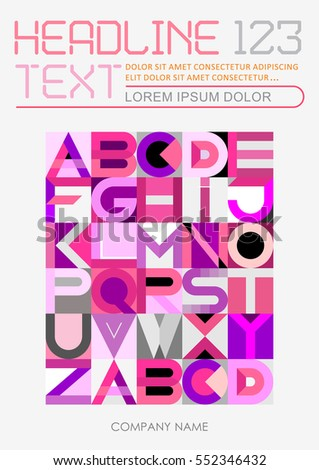 Abstract geometric font design, vector template of magazine front page, size A4. Abstract art illustration featuring the letters of the alphabet.