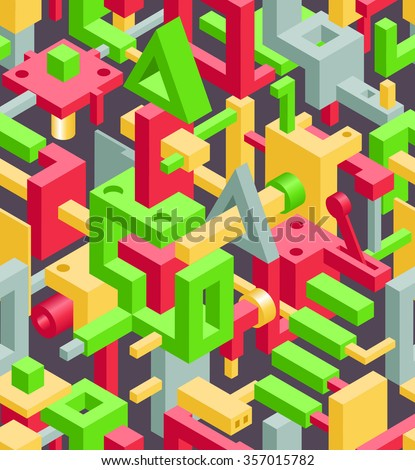 Abstract Geometric Hi-Tech Background with Colorful 3D Objects on Black. Modern Art Vector Concept. Mix of Geometric Cube Shapes in Funky Techno Style - stock vector