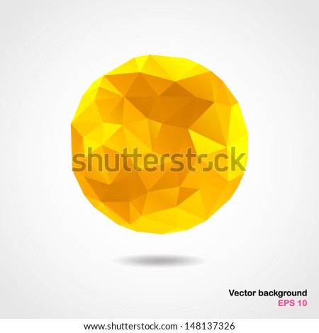 Abstract geometric light yellow spherical shape from triangular faces for graphic design.Vector illustration EPS10. - stock vector