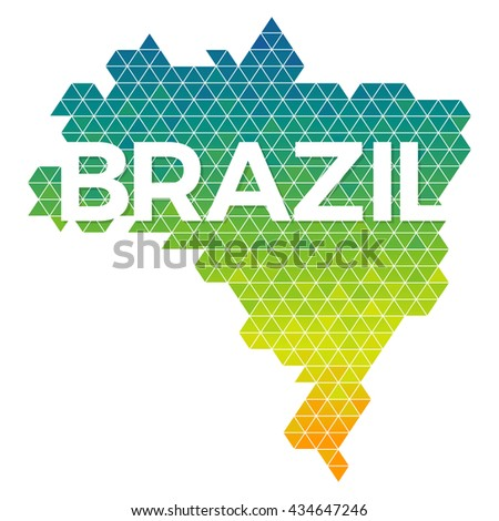 Abstract geometric map of Brazil flag colors vector illustration - stock vector