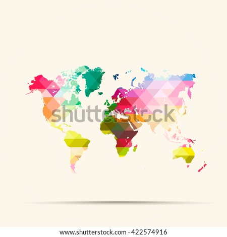 Abstract geometric map World  background consisting of triangles - stock vector