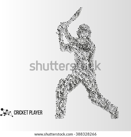 Abstract geometric molecule polygonal batsman cricket player silhouette isolated on gradient background