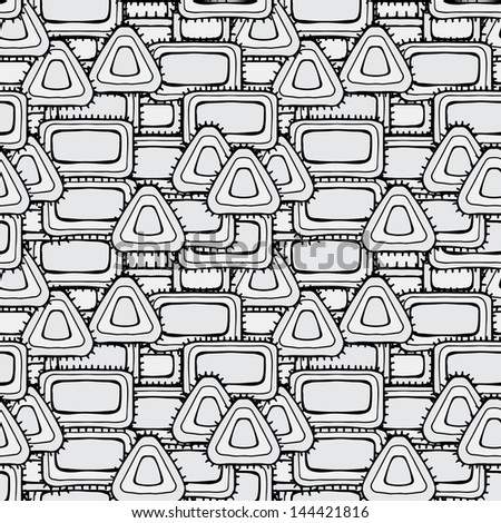 Abstract geometric monochrome seamless pattern - vector