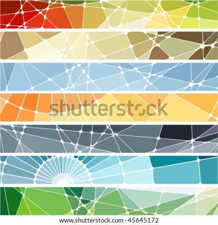 abstract geometric mosaic banners set - stock vector