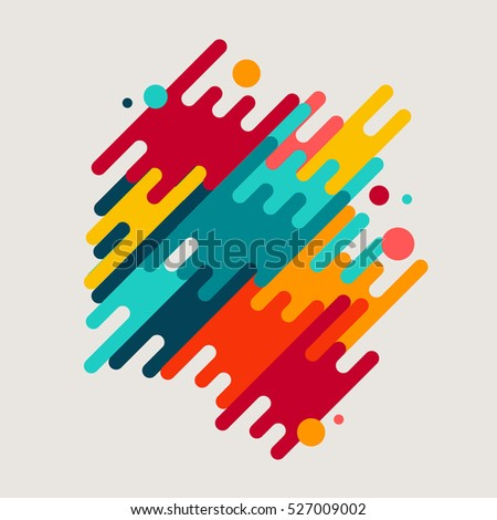 Abstract geometric motion shapes. Colorful dynamic geometric background. Vector template.