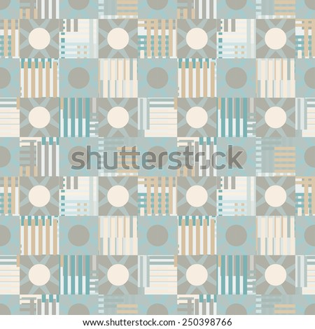 Abstract geometric mottled seamless pattern. Circles, squares, stripes, lines. Repeating background texture. Cloth design. Wallpaper, wrapping - stock vector