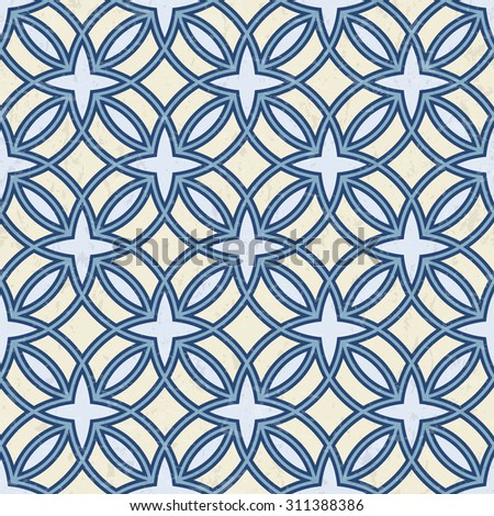 Abstract geometric outlined pattern in blue and cream white, textured background, seamless vector illustration