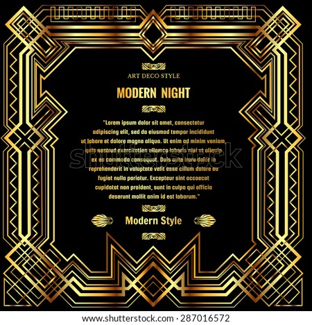 abstract geometric pattern, art deco border with gold grid frame on a black background - stock vector