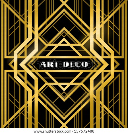 Abstract Geometric Pattern Art Deco Style A Gold Grill On Black Background