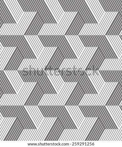 Abstract geometric pattern by  lines and stripes.. A seamless vector background. Gray and white texture. - stock vector