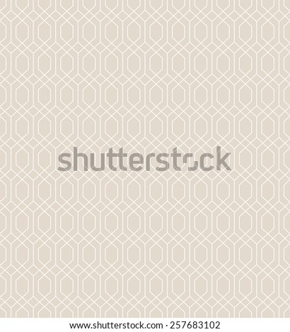 Abstract geometric pattern by lines. Seamless vector background. Beige and white ornament - stock vector