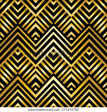 Abstract geometric pattern in art-deco style, vector wallpaper - stock vector