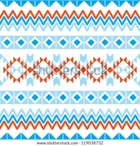 Abstract geometric pattern knitted ornamental seamless background - stock vector