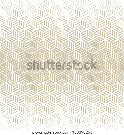 Abstract geometric pattern with cubes and strips. A seamless vector background. Gold and white texture. - stock vector