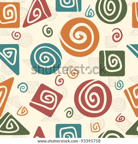 Abstract Geometric Pattern With Curves Retro Colored - stock vector