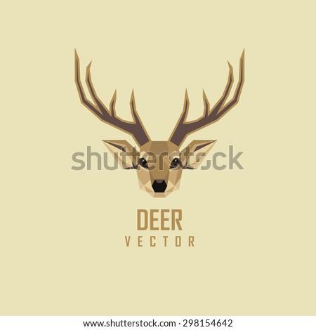 abstract geometric polygonal deer head logo design - stock vector
