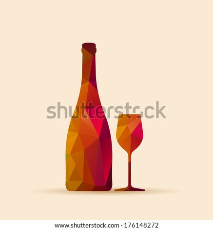 abstract geometric polygonal glass and bottle shape  - Restaurant Bar cover menu - stock vector
