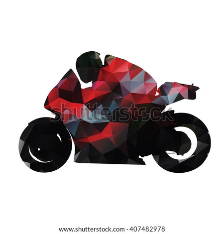 Abstract Geometric Red Motorbike Vector Silhouette, Isolated Road Motorcycle,  Side View