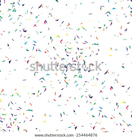 Abstract geometric seamless background with confetti. - stock vector