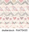 Abstract geometric seamless pattern. Aztec style pattern with hearts. - stock vector