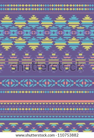 Abstract Geometric Seamless Pattern/ Aztec Style Pattern with Triangle and Line - stock vector