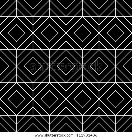 Abstract geometric seamless pattern. Black and white style pattern with rhombus and lines. - stock vector