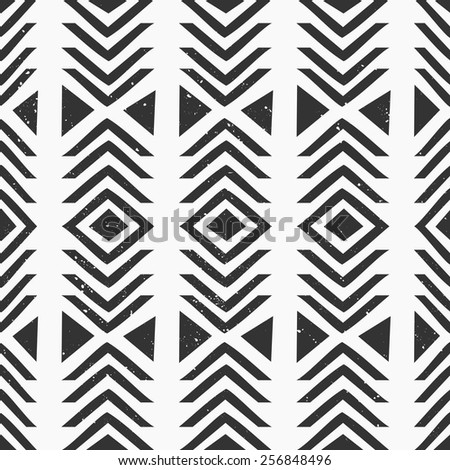 Abstract geometric seamless pattern in black and white. - stock vector