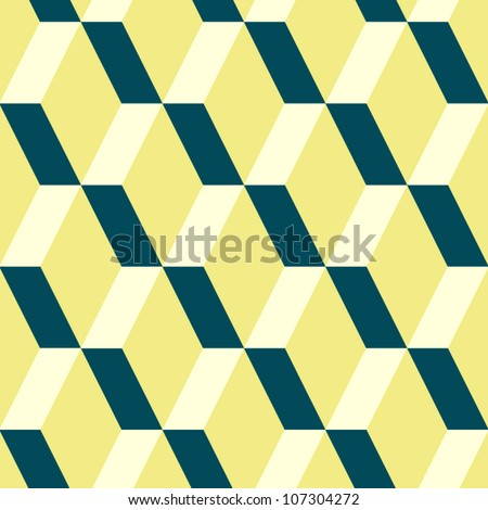 Abstract geometric seamless pattern in yellow and blue, vector - stock vector