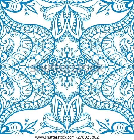 Abstract geometric seamless pattern. Islamic Arabian ornament. Tribal ethnic background, hand drawn fashion repeating texture. Blue and white vector illustration - stock vector