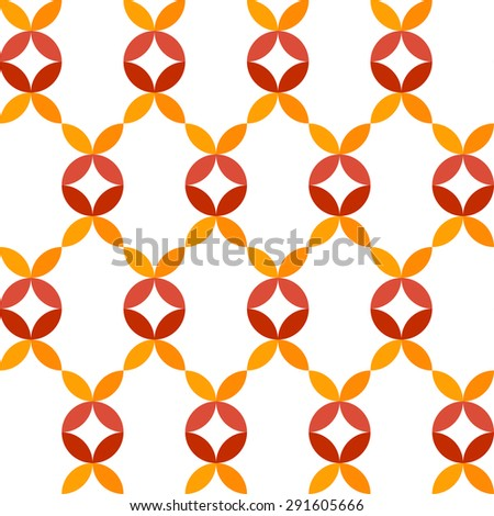 Abstract geometric seamless pattern of colorful petals - stock vector
