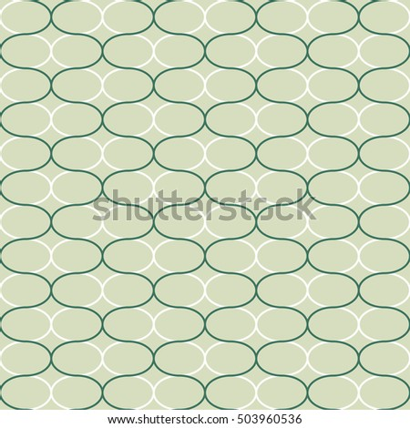 "Abstract geometric seamless pattern. Trendy textile or interior wallpaper repeatable texture. Tony natural light beige and green ""emerald"" color shades. Waves shapes background."