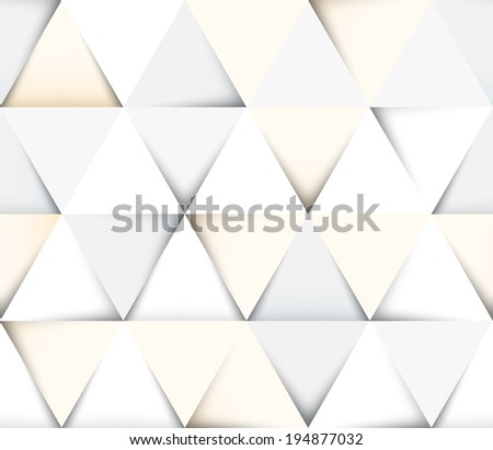 Abstract geometric seamless pattern with paper cut triangles - stock vector