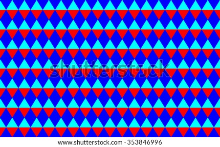 Abstract geometric seamless pattern with triangles in blue and red colors - stock vector
