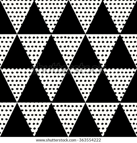 Abstract geometric seamless repeat pattern in black and white. Modern and stylish abstract design poster, cover, card design. - stock vector